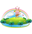 A bunny playing with the guitar in the hill vector image
