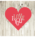 love heart red on wooden texture vector image