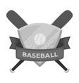 emblem baseball single icon in monochrome style vector image
