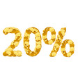 20 percent price cut off golden discount coins vector image vector image