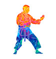 abstract man in kimono training karate from splash vector image vector image