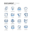 Blue Line Documents Icons vector image