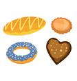 bread bakery assortiment set baking pastry vector image