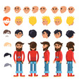 cartoon hipster man character constructor vector image vector image