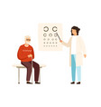 cartoon senior male at ophthalmologist reception vector image