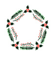 Christmas frame new year wreath vector image vector image