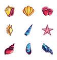 cockleshell icons set cartoon style vector image