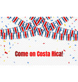 costa rica garland flag with confetti on vector image vector image