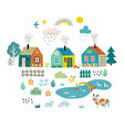 cute cartoon village funny doodle landscape vector image