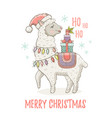 cute christmas alpaca llama in santa hat winter vector image vector image