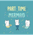 cute white cats mermaid under water vector image