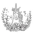 doodle unicorn in flowers 3 vector image vector image