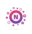 dots and letter n logo with circles and dots vector image vector image