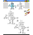 drawing and coloring worksheet with funny robot vector image