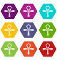 egypt ankh symbol icon set color hexahedron vector image vector image