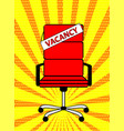 empty red office chair and sign word vacancy on vector image vector image