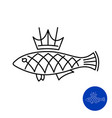 fish icon with crown king fish line style concept vector image