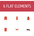 flat icons lingerie man footwear sundress and vector image