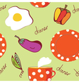 Food seamless pattern with egg plate tea vector image
