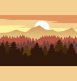 forest mountains silhouettes of pine trees firs vector image vector image