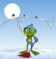 Frog with a shovel vector image vector image