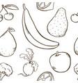 fruits and vegetables pattern vegetarian set vector image vector image