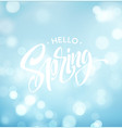 hello spring background with bokeh and vector image vector image