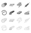 isolated object of meat and ham sign collection vector image