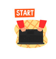 laptop and hands on the keyboard ecommerce vector image