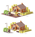 low poly house icon vector image