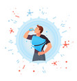 man drinks water protection against germs vector image vector image