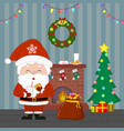 new year and christmas card santa claus holds vector image