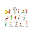 people in fitness center exercising under control vector image vector image