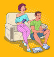 pop art couple playing video game with console vector image vector image