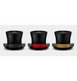 realistic top hat magic hat vintage black vector image