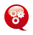 red bubbles with gears symbol icon vector image