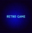 retro game neon text vector image vector image