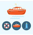 Set icons with boat life buoy lighthouse vector image vector image