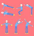 set of elderly man doing sport vector image vector image