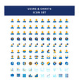 set users and charts icon with flat style vector image vector image