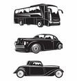 set vintage cars emblems for logo design vector image