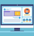 social network concept with monitor screen vector image vector image