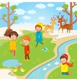 Spring Easter kids playing outdoor vector image