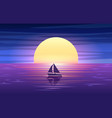 sunset sea and boat vector image vector image