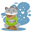 the fox in winter and cold drinks tea or coffee vector image