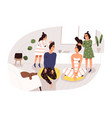 two creative girl making hairstyle to parents vector image