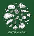 vegetarian menu vegetable dishes and meals farm or vector image vector image
