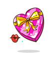 cartoon blank pink heart shape box isolated vector image