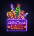 christmas sale neon sign new year banner logo vector image