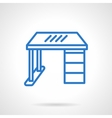 Office desk blue line icon vector image